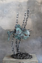 Mario Branca, Cowfish, rame ossidato verde e acciaio, 85x60x40 cm