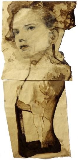 Domenico Grenci Ofelia, 2015 Bitume e carboncino su carta 100x50 cm Courtesy: Galleria Alessandro Casciaro, Bolzano