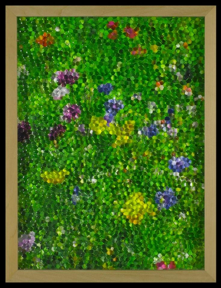 Gianluca Quaglia, Mosaico (giallo, viola e blu), 2016, stampa digitale, vetro stampato a nido d'ape, tavola 40x30 cm