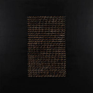 Alfredo Rapetti Mogol, La mia lettera, 2012, acrilico e bitume su tela, 140x140 cm