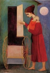 Trento Longaretti, Grande mendicante in verde, 1952, olio su tela, 100x70 cm