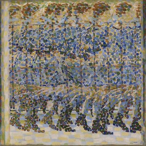 Giacomo Balla, Bambina x balcone, 1912, olio su tela, 125x125 cm, Milano, Galleria d'Arte Moderna, Collezione Grassi (Donazione Nedda Mieli Grassi, 1960) © Mondadori Portfolio/Electa, Luca Carrà - Museo del Novecento