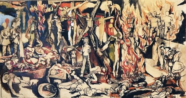 Renato Guttuso, I martiri, 1954, olio, tempera, inchiostro di china su carta intelata, 162x300 cm