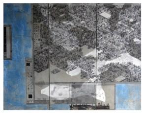 Marco Mendeni, SimCity blue, 2013, trasposizione digitale su cemento acrilico e cera colorata, 145x180 cm Courtesy Theca Gallery, Milano
