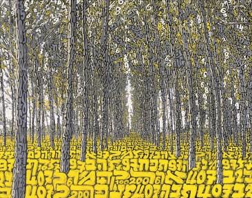 Tobia Ravà, Or kadmon - bosco zafferano, 2017, multiplo a sublimazione su raso acrilico,cm 55 x 70, foto Amedeo Fontana