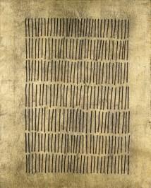 Arturo Vermi, Storia della Chiesa, 1975, smalto su foglia d'oro, 50x40 cm Courtesy Fondazione Berardelli, Brescia