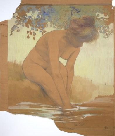 Achille Calzi, Bagnante, 1907, disegno preparatorio per pannello ceramico, 107.5x89.5 cm, Collezione privata