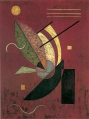 Wassily Kandinsky, Schwarzes Staebchen (Bastoncini neri), 1928, olio su legno, 26x20 cm, Milano, Collezione privata