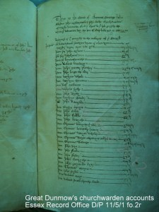 Great Dunmow's churchwarden accounts Essex Record Office D/P 11/5/1 fo.2r