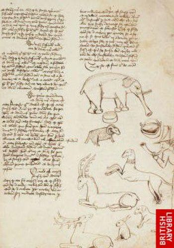 An elephant, a ram, stags, a hare, dogs, a bucket, & a man blowing a horn, De caelo, De anima (England, 1487)