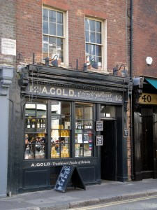 Restored shop front of A. Gold, Brushfield Street