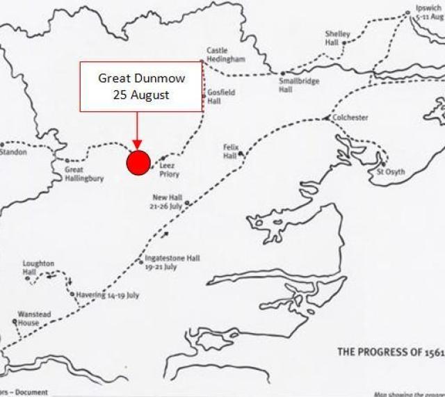 Map of Elizabeth's 1561 Summer Progress