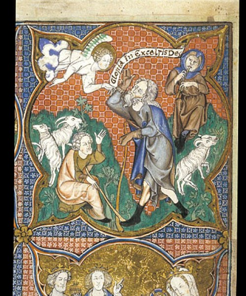 Arundel 83 f.124 Annunciation to the Shepherds