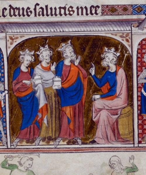 Royal 2 B VII f.131 Magi before Herod