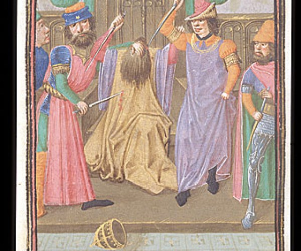 Royal 16 G VIII f.331v Murder of Caesar