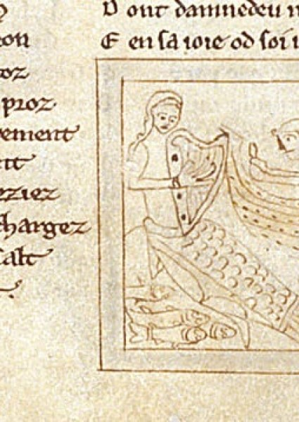 Miniature of a mermaid playing a harp luring sailors in a boat from Bestiary, Guillaume le Clerc (England, 2nd quarter of the 13th century); shelfmark Egerton 613 f.38