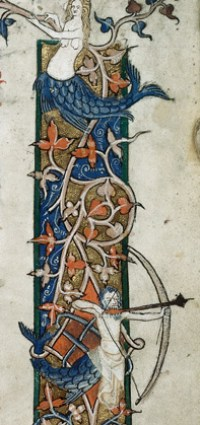 Detail of a miniature of a mermaid and merman with bow and arrow.  From Decretals of Gregory IX with glossa ordinaria (the 'Smithfield Decretals'), (France, S. (Toulouse?), Last quarter of the 13th century or 1st quarter of the 14th century); shelfmark Royal 10 E IV, f.3.
