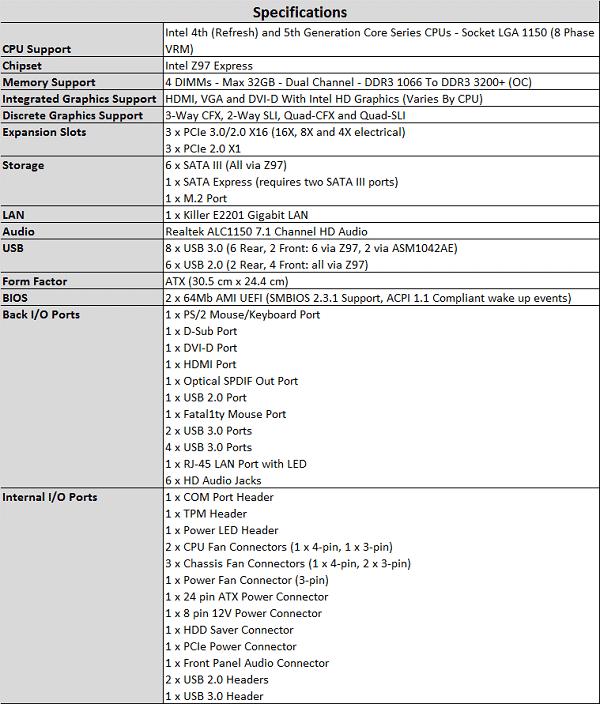 ASRock Z97X Fatality Killer specs