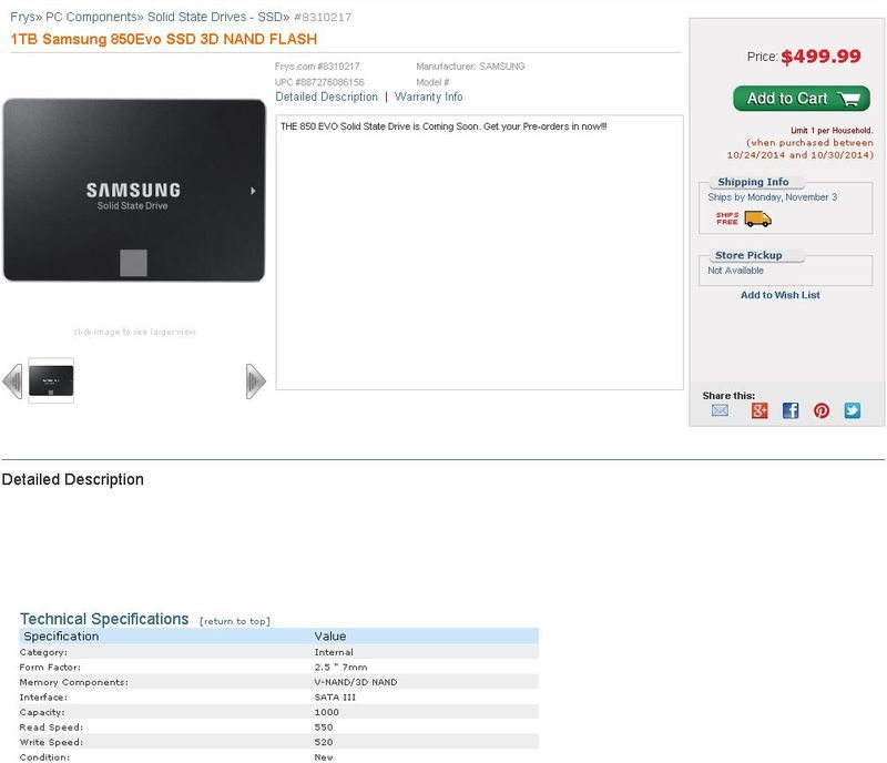 Samsung EVO 850 listing shot