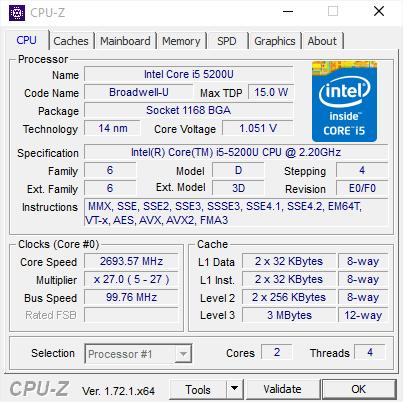 BRIX 5200 CPU-Z
