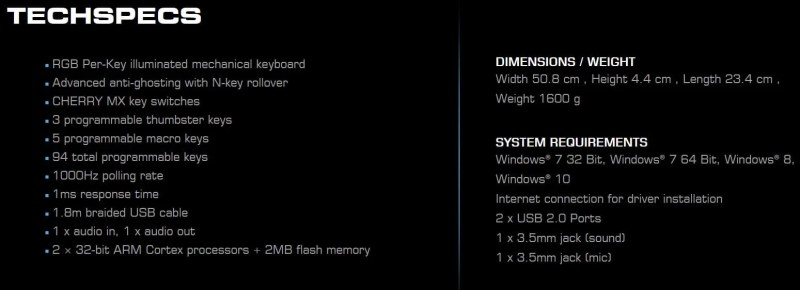 Roccat Ryos Technical Specifications