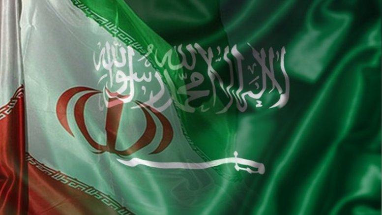 Iran and Saudi Arabia flags.