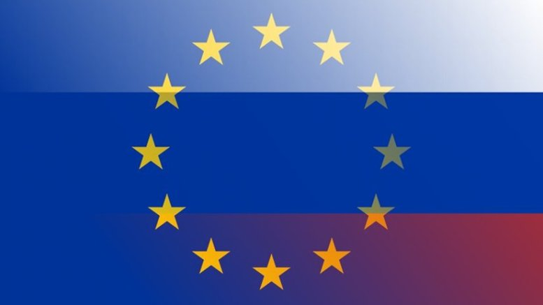 Flags of European Union and Russia