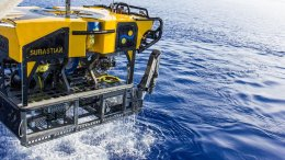ROV SuBastian, a new eco-friendly 3,100 kg (6,500 pound) deep-sea research platform for the Schmidt Ocean Institute's R/V Falkor, equipped with ultra high-resolution 4K cameras, mechanical arms that move seven ways and can sample to depths of 4,500 meters (2.8 miles), with a lighting system equivalent to the lamps of 150 car high-beams. SuBastian will make its first science cruise in December, in the Mariana Back-Arc in the western Pacific. Credit: Schmidt Ocean Institute