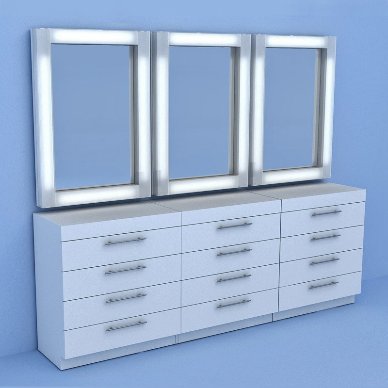 9' Make Up Table and Mirrorrs
