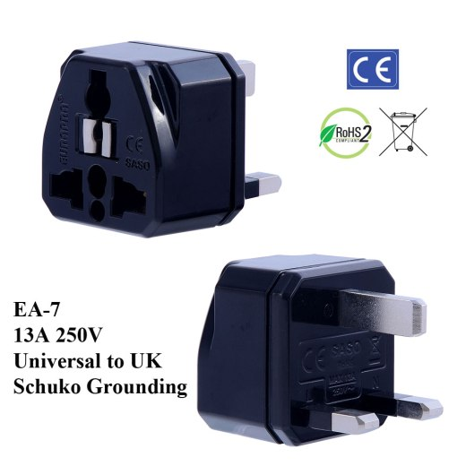 EA-7_Black, UK Plug Adapter with Schuko Ground