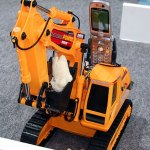 Power shovel remote controlled via FOMA 3G cell phone