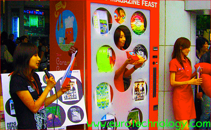 Human vending machine in Tokyo Shibuya, powered by a charming alive lady instead of machinery to catch attention and for marketing a periodical