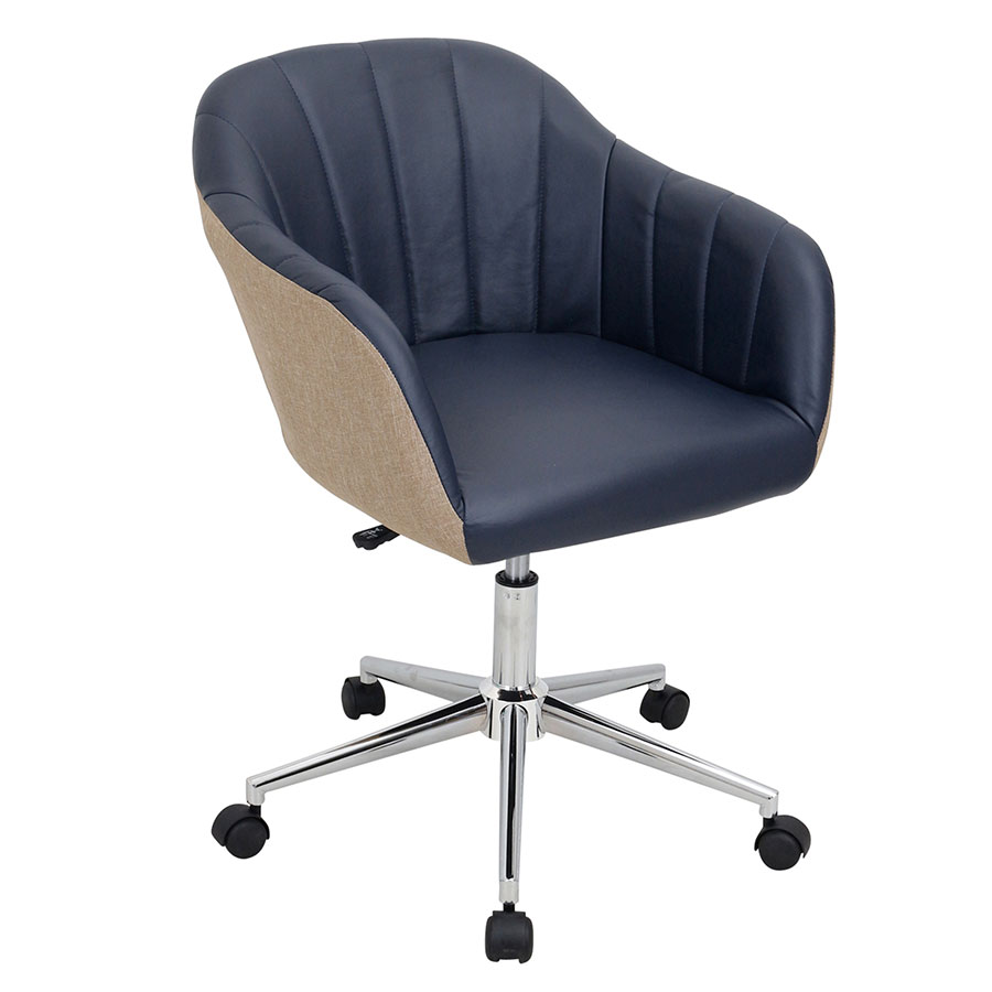State Call To Order Sherwin Navy Faux Lear Tan Fabric Chrome Base Midback Office Chair Office Chairs Sherwin Navy Office Chair Eurway Office Chairs South Africa Office Chairs Australia houzz 01 Modern Office Chair