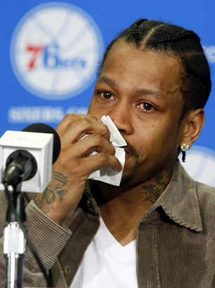 Allen Iverson sheds tear at press conference