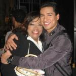 Mario Lopez gives Irene 'Cooking With the Stars' Stokes a big squeeze at the taping of 'America's Best Dance Crew'