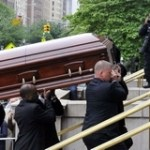 Pallbearers carry the casket of entertainer and civil rights activist Lena Horne into Church of St. Ignatius Loyola in New York, Friday, May 14, 2010.