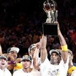 The Los Angeles Lakers hoist the 2010 Larry O'Brien Award