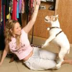 Mariah playing with her pooch