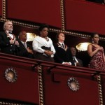 U.S. President Barack Obama and first lady Michelle Obama stand with Kennedy Center Honorees in Washington December 5, 2010.