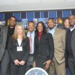 Charles Smith, former NY Knicks; Mike Bantom, NBA Sr. VP Player Dev.; Natara Holloway, NFL Dir. of Corp. Dev.; Rev. Jesse L. Jackson, Sr.; Tanya Horowitz, Financial Assets Manager; Kris Jenkins, Defensive Lineman, NY Jets; and Joe Briggs, NFLPA Manager of Gov. Relations & Public Policy Council (Photo by Margot Jordan)