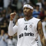 Former NBA player Allen Iverson of Besiktas Cola Turka reacts during their Turkish basketball league game against Fenerbahce Ulker in Istanbul, Turkey, Sunday, Nov. 21, 2010.