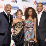 Steve Harvey, Marjorie Harvey, model Gelila Bekele and director Tyler Perry attend the 2nd annual Steve Harvey Foundation Gala at Cipriani, Wall Street on April 4, 2011 in New York City.