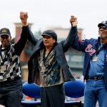 L-R) Hall of Fame shortstop Ernie Banks, musician Carlos Santana and actor Morgan Freeman acknowledge the crowd after receiving the MLB Beacon Awards prior to the Civil Rights game between the Atlanta Braves and the Philadelphia Phillies at Turner Field on May 15, 2011 in Atlanta.