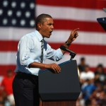 President Barack Obama speaks in favor of his $447 billion jobs plan while addressing Coloradans in front of Abraham Lincoln High School on Sept. 27, 2011 in Denver, Colorado