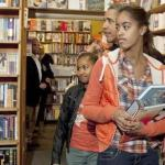 President and daughters visit bookstore (Kramerbooks) near White house