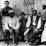 Harriet Tubman with escaped slaves at an Underground Rail Road station