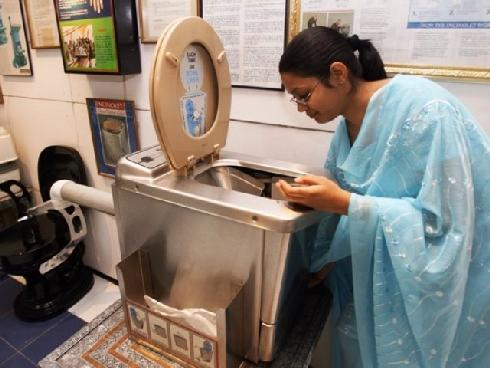 indian woman &amp; toilet