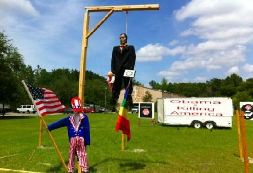 obama effigy hanging