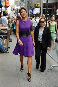 Robin Roberts, who announced she is planning a medical leave due to her battle with myelodysplastic syndrome, arrives at 'Good Morning America' on July 26, 2012. The anchor, currently undergoing chemotherapy, wears a matching armband to cover up a pic line in her arm.