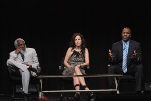 (L-R) Comedian and Social Activist Dick Gregory, host Mary-Louise Parker and filmmaker Byron Hurt speak onstage at the Independent Lens 'Soul Food Junkies' panel during day 1 of the PBS portion of the 2012 Summer TCA Tour held at the Beverly Hilton Hotel on July 23, 2012 in Beverly Hills, California